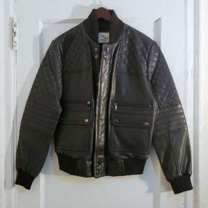 SAKS Modern Navy Bomber Leather Jacket